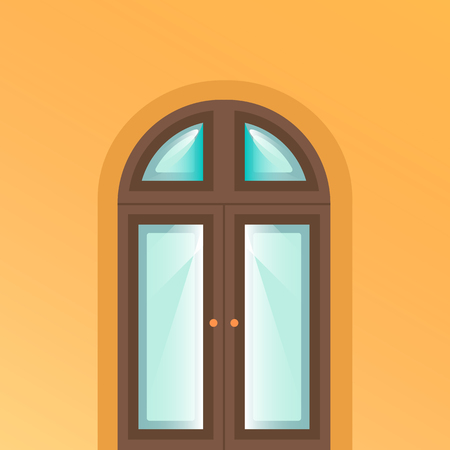 Door icon on yellow background.