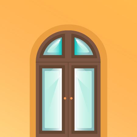Door icon on yellow background.