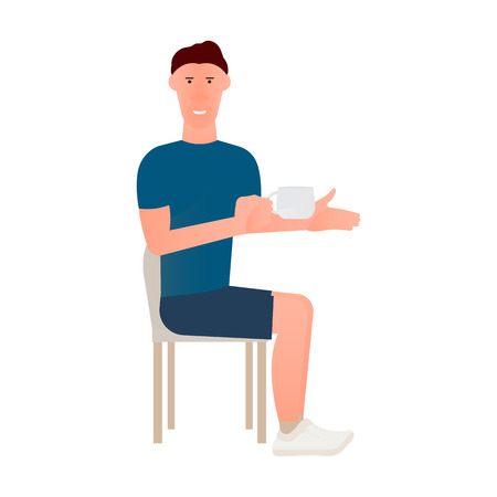Cartoon illustration of seated man in chair with cup of tea or coffee