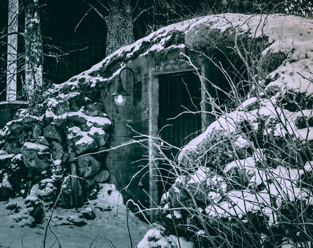 Entrance to the cellar topped with cobblestones, winter