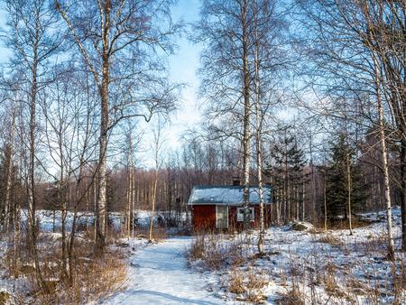 Old bathhouse in the woods by the lake, clear winter day.
