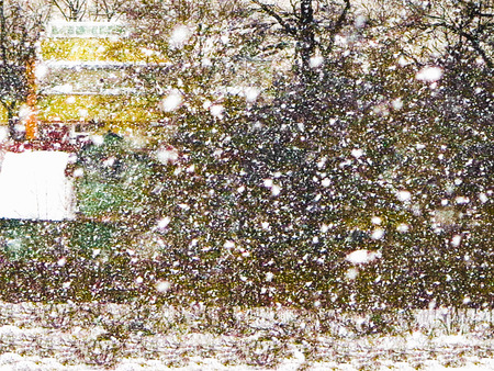 Heavy snow walking in the woods and the house hidden behind the trees. Banco de Imagens