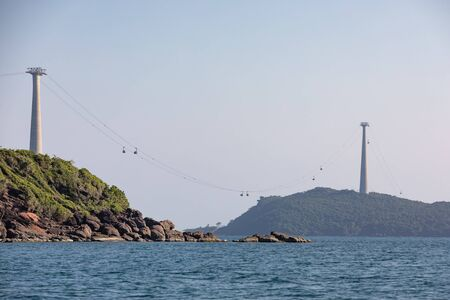High cablecar connecting Dua and Roi islands to the south of Phu Quoc Island in sunny weather