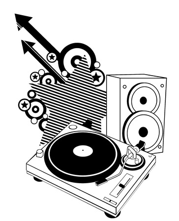 Turntable And Speaker Vector