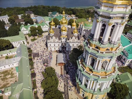 Kiev, Ukraine - July 27, 2019: Religious procession of Orthodox Christians on the feast of the baptism of Rus, Ukraine, Russia at the Kiev-Pechersk Lavra.