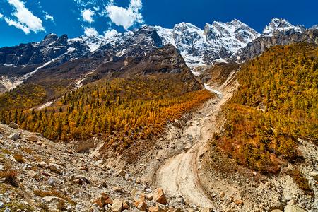 Valley and Mountains View in Himalaya. Gangotri glacier, Gaumukh, India.