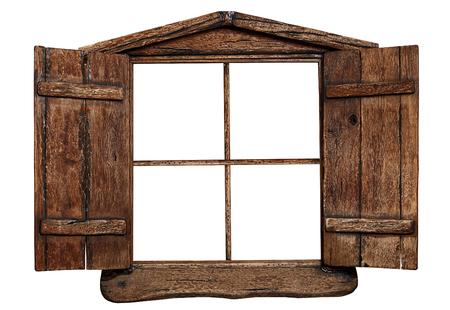 Oud grunge houten raamkozijn, dat op wit wordt geïsoleerd