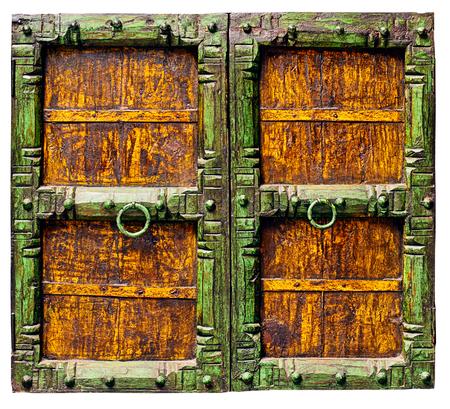 door handle: Old antique door; isolated on white. Stock Photo