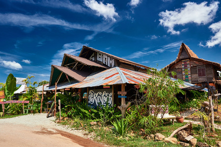 Exotic tropical cafe for travelers in rural style. Lankgawi island, Malaysia – October 2017. Editorial