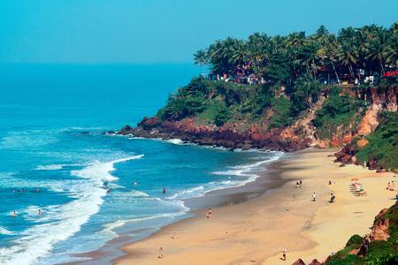 Varkala, Kerala, India – November 30, 2017: View of Varkala beach from cliff. Varkala beach – one of finest India beaches.