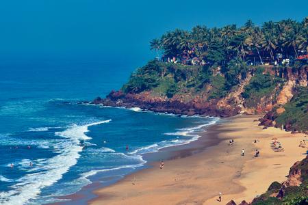 Varkala, Kerala / India: View of Varkala beach from cliff. Varkala beach – one of finest India beaches.