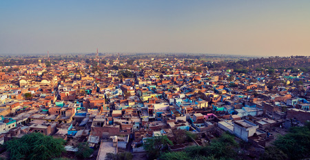 Aerial view of poor indian town Varsana, Barsana. High resolution panorama for large format printing. Mathura, Uttar Pradesh, India.