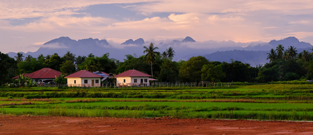 Panoramic landscape of houses surrounded by trees with background of evening sky. Colorful asian houses. Langkawi island, Malaysia. Stockfoto