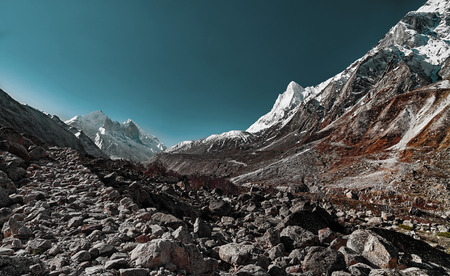 Valley and Mountains View in Himalaya. Gaumukh glacier, Gangotri, Uttarakhand, India. Stock Photo