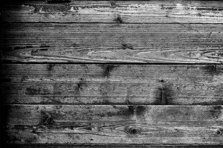 BW-Bild des alten hölzernen Wandhintergrundes oder -beschaffenheit. Old Vintage dirty Grunge Planked Wood Texture Background.