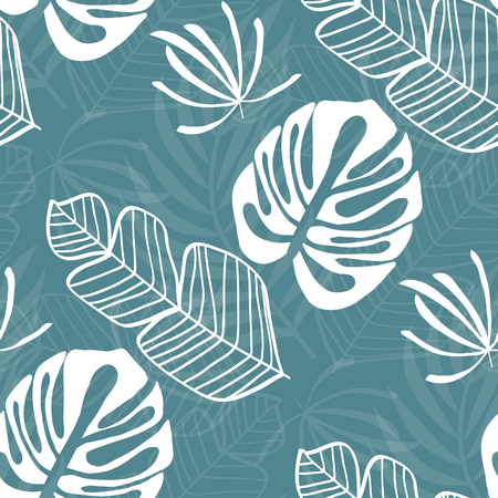 Tropical seamless pattern with leaves. White tropical leaves on blue background. Banana leaves, monstera leaves, palm leaves.