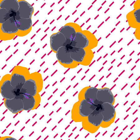 Tropical background with black flowers. Floral seamless background with hibiscus.