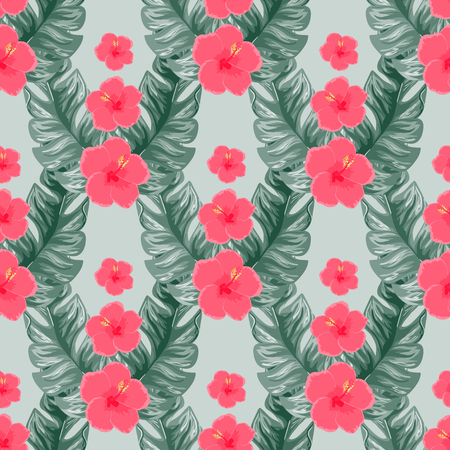 Exotic seamless pattern with tropical flowers and leaves. Banana leaves and hibiscus flower. Floral background with exotic leaves and flowers. Banque d'images - 125817720