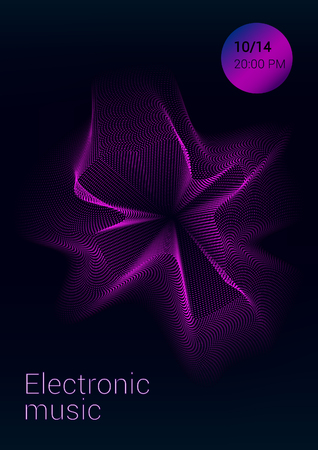 Color Equalizer on a dark background. Night music event. Abstract wave lines. Musical poster.
