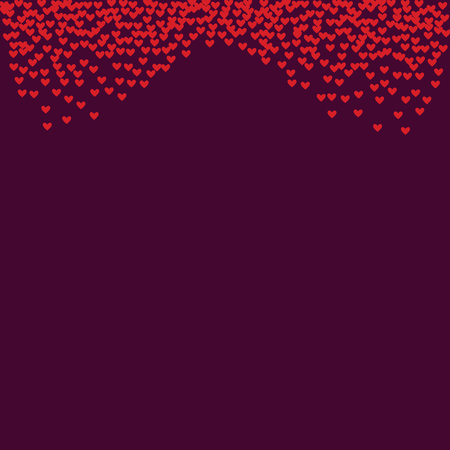 Pink hearts on a burgundy background. Heart confetti on a bright background. Valentines Day.