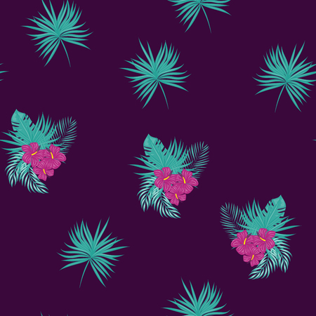 Tropical pattern with hibiscus flowers and leaves. Exotic seamless pattern with tropical leaves. Ethnic Background with Hawaiian flowers and plants.