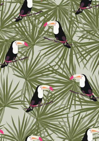 Tropical seamless pattern with toucan. Tropical leaves with exotic birds. Hawaiian plants. Botanical background for covers, wallpapers and fabrics.