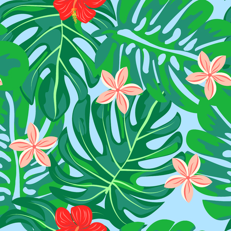 Tropical pattern with hibiscus flowers and leaves. Exotic seamless pattern with tropical leaves. Ethnic Background with Hawaiian flowers and plants. Banque d'images - 125733695