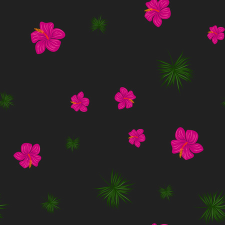 Tropical pattern with hibiscus flowers and leaves. Exotic seamless pattern with tropical leaves. Ethnic Background with Hawaiian flowers and plants. Banque d'images - 125733696