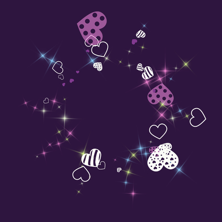 Greeting card with hearts and glitter on a purple background. Romantic confetti from hearts. Çizim