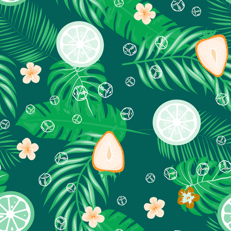 Fruit and citrus seamless pattern with strawberries and oranges on a green background. Tropical background with fruits and leaves.