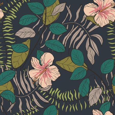 Tropical pattern with hibiscus flowers and leaves on a dark background. Floral background. Çizim