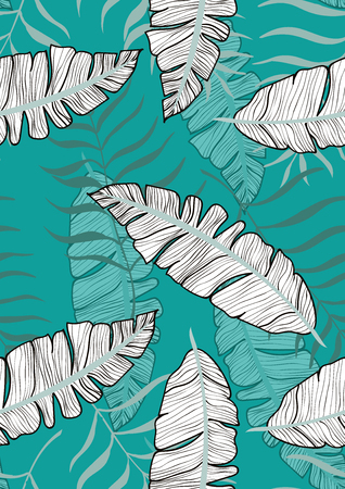 Exotic seamless pattern with tropical banana leaves. Hawaiian plants. Botanical background for covers, wallpapers and fabrics.