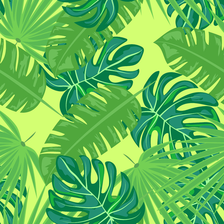 Tropical seamless pattern with leaves. Beautiful tropical isolated leaves. Fashionable summer background with leaves for fabric, wallpaper, paper, covers. Banque d'images - 125733705