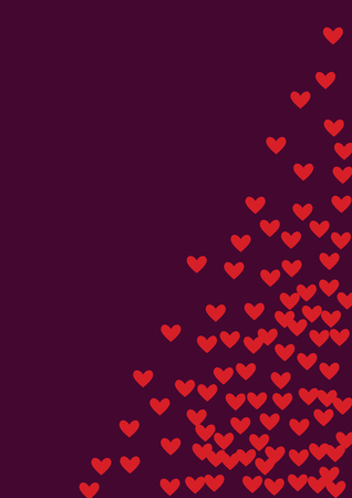 Pink hearts on a burgundy background. Heart confetti on a bright background. Valentine's Day. Banque d'images - 125733707