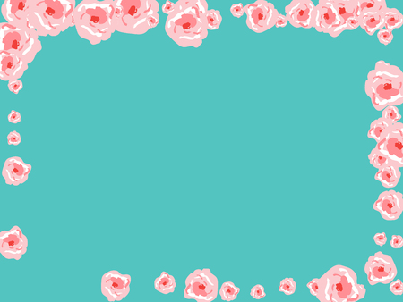Floral Summer Poster With Pink Roses On A Blue Background. Romantic Background With Roses For Wedding And Greeting For Valentine's Day. Banque d'images - 125733710