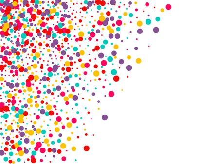 Świąteczne tło z wielobarwnym konfetti. Żółte, różowe, niebieskie kółka, ale na białym tle. Latające konfetti.