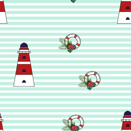 Lighthouse, tropical leaves and lifebuoy seamless pattern. Çizim