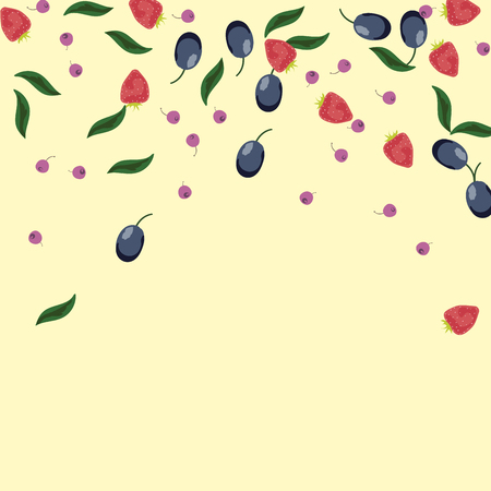 Berry background with blueberries, strawberries and plums on a light background.