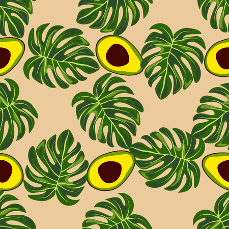 Avocado and tropical leaves seamless pattern. Çizim