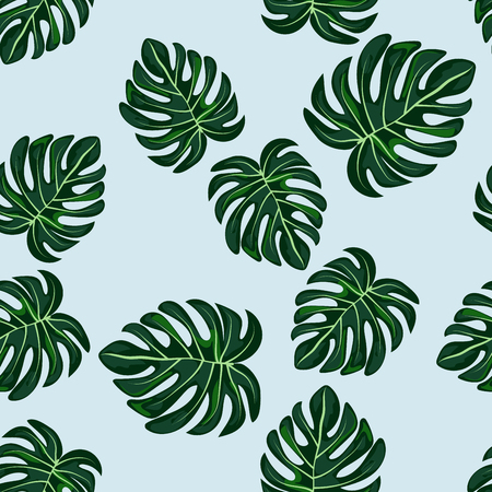 Blue tropical leaves monstera pattern. Tropical seamless pattern with leaf monstera.
