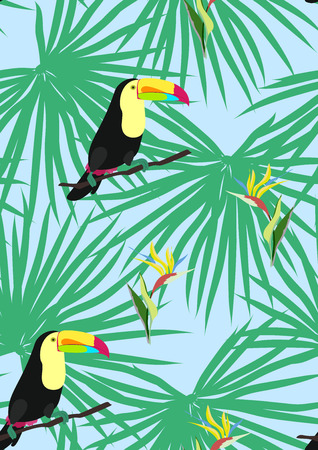 Toucan with tropical leaves and flowers.