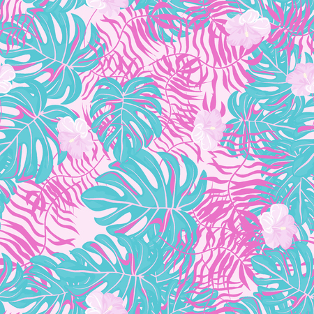Beautiful tropical seamless pattern with flowers and leaves. Flowers of the jungle. Summer background with tropical leaves and flowers for fabric, wallpaper and cover