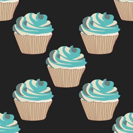 Sweet cupcake vector seamless pattern.