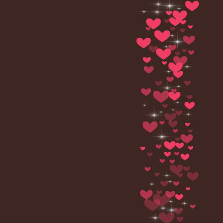 Cute background with hearts on a brown background.