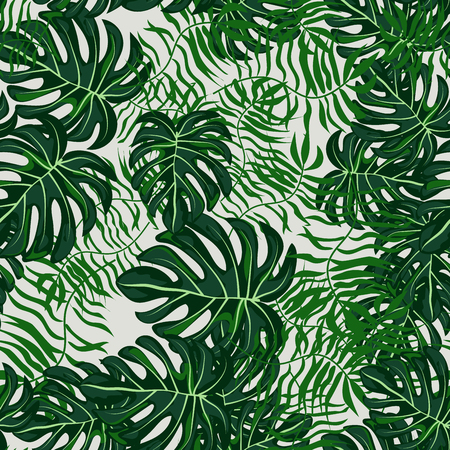 Green Tropical Leaves Seamless Pattern. Çizim