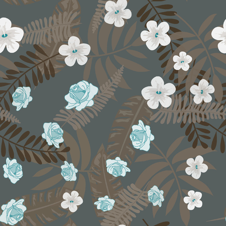 Beautiful tropical seamless pattern with flowers and leaves. Flowers of the jungle. Summer background with tropical leaves and flowers for fabric, wallpaper and cover.