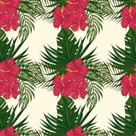 Patrón de flores y hojas tropicales. Patrón transparente hawaiano con plantas tropicales.
