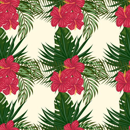 Tropical leaves and flowers pattern. Hawaiian seamless pattern with tropical plants. Çizim