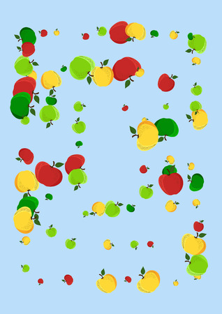 Autumn background with yellow, red and green apples. Stok Fotoğraf - 124907151