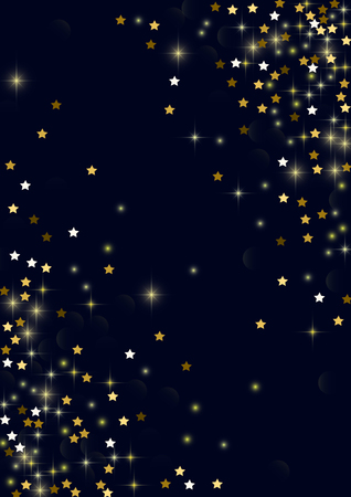 Glowing golden stars with twinkling elements on a blue background. Stars in the night sky. Gold glitter. Festive Christmas background.